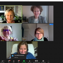 Clockwise, from top left, EIFL Director Rima Kupryte and Programme Managers, Teresa Hackett, Romy Beard, Iryna Kuchma and Ramune Petuchovaite, presented updates on Day 1 of the GA.