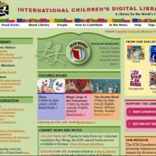Home page of a free online library, showing the kinds of story books children are reading with their librarians and teachers.