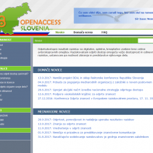 Screen shot of the home page of the OPENACCESS.SI website.