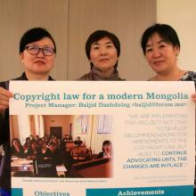 Project team members Bayaraa Bat-Erdene, Oyunbileg Damdinsuren and Baljid Dashdeleg present their project at the 2013 EIFL General Assembly.