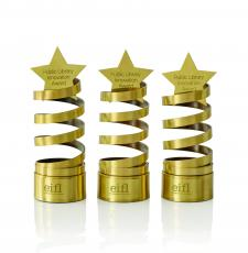 The EIFL Award - a brass spiral statue, with a star on top.