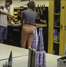 The DeLaMare Library makerspace (University of Nevada, Reno, USA) offers 3D printers and scanners, lasers and vinyl cutters, a PCB milling machine, soldering and sewing stations and a variety of hand tools.