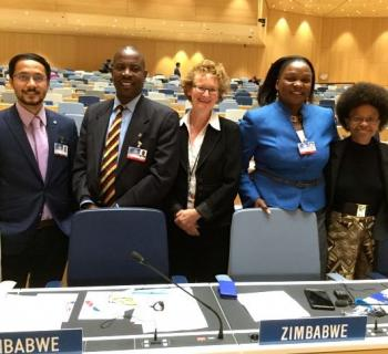 Group photo of EIFL delegation (Pratyush Nath Upreti from Nepal and Teresa Hackett, EIFL Copyright and Libraries Programme Manager with delegation of Zimbabwe at WIPO Assemblies 2016.
