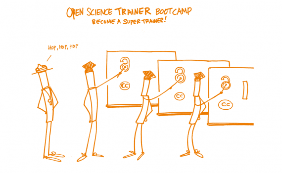 cartoon of open science trainers at a board, teaching open science