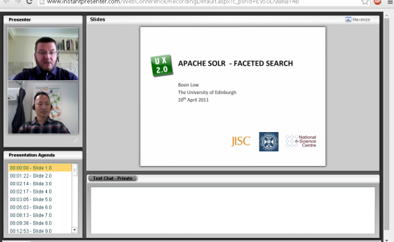 In picture: Mr. Boon Low is giving an online presentation on faceted search tools